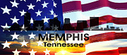 Tn Mixed Media Prints - Memphis TN Patriotic Large Cityscape Print by Angelina Vick