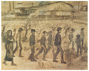 Impressionism Drawings Prints - Men and Women Miners going to Work Print by Vincent van Gogh