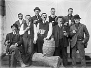 Mustaches Metal Prints - Men Around A Keg Of Beer Metal Print by Underwood Archives