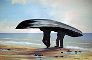 Men Art Painting Originals - Men Carrying A Currach by Cathal O malley