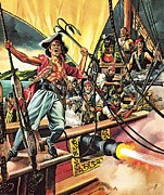 Pirates Painting Metal Prints - Men of the Jolly Roger Metal Print by Ron Embleton