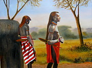 Masai Paintings - Men of the Maasai by Wycliffe Ndwiga