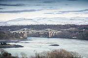 Bank; Clouds; Hills  Prints - Menai Bridge - Winter Print by Christine Smart