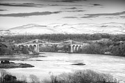 Bank; Clouds; Hills  Prints - Menai Bridge Winter Monochrome Print by Christine Smart