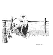 Ranching Drawings - Mending Fences by Paul Shafranski