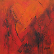 Abstracted Painting Posters - Mending Hearts Poster by Roberta Rotunda