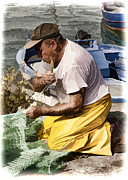 Mending The Net - Catania Sicily Print by Jon Berghoff