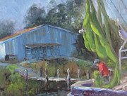 Florida Panhandle Painting Prints - Mending The Nets Print by Susan Richardson