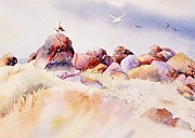 John Svenson Paintings - Mendocino Birds by John  Svenson