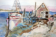 Fishing Shack Paintings - Menemsha Harbor by Michael Helfen