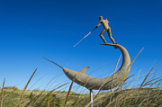 Vineyard Art Posters - Menemsha Harpooner Sculpture Poster by John Greim