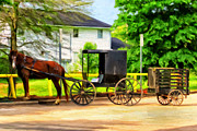 Amish Buggy Paintings - Mennonite Horse and Buggy by Michael Pickett