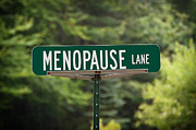 Sue Smith Framed Prints - Menopause Lane Sign Framed Print by Sue Smith