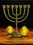 Menorah Paintings - Menorah and Pears by Phyllis Beiser