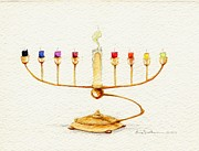 Menorah Paintings - Menorah by Eric Suchman