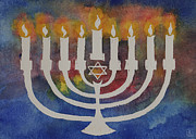 Menorah Paintings - Menorah by Jeanne Liander