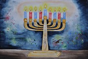 Menorah Paintings - Menorah by Sally Rice