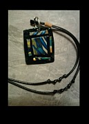 Polymer Jewelry - Mens Abstract Blue Pendant by Sonia Rodriguez