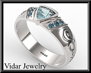 Custom Ring Jewelry - Mens Aquamarine And Blue Diamond Wedding Band by Roi Avidar