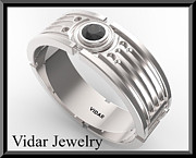Custom Ring Jewelry - Mens Black diamond Wedding Band - Silver Wedding Ring by Roi Avidar