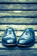 Bench Photo Metal Prints - Mens Dress Shoes on park bench Metal Print by Edward Fielding