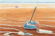 Meols Beach At Low Tide - Wirral Print by Peter Farrow