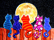 Whimsical Painting Framed Prints - Meowing at Midnight Framed Print by Nick Gustafson