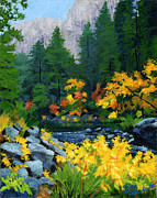 Yellow Leaves Prints - Merced River in Autumn Print by Alice Leggett