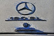 Mercedes Paintings - Mercedes 190 SL 1962 logo by George Atsametakis