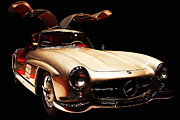 Wing Tong Posters - Mercedes 300SL Gullwing . Front Angle Black BG Poster by Wingsdomain Art and Photography