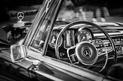 Photographs Prints - Mercedes-Benz 250 SE Steering Wheel Emblem Print by Jill Reger