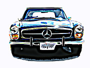 Samuel Sheats Posters - Mercedes Benz 280SL Roadster Poster by Samuel Sheats