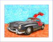 Car Prints Prints - Mercedes  Benz 300 S L Gull Wing Print by Jack Pumphrey