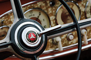 Old Car Posters - Mercedes-Benz Steering Wheel Emblem Poster by Jill Reger