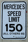 Hand Crafted Art - Mercedes Speed Limit 150 by George Pedro