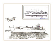 Helicopter Drawings Posters - Merchant Marine conceptual drawing Poster by Jack Pumphrey