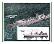 Helicopter Drawings Posters - Merchant Marine Sea Lift Poster by Jack Pumphrey