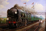 Vintage Painter Prints - Merchant Navy pacific at Brookwood. Print by Mike  Jeffries