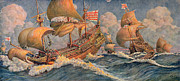 Flag Drawings Prints - Merchant Ships of 1640 Print by Robert Morton Nance