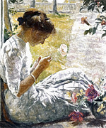 Expressionism Pastels - Mercie Cutting Flowers by Stefan Kuhn