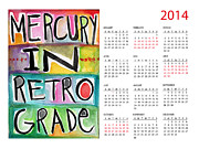 Watercolor Card Prints - Mercury In Retrograde Calendar Card Print by Linda Woods