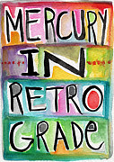 Orange Art Posters - Mercury In Retrograde Poster by Linda Woods