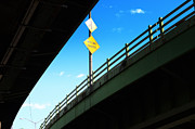 Traffic Sign Photos - Merge Traffic on Highway Bridge Bronx New York City by Sabine Jacobs