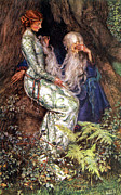 White Beard Metal Prints - Merlin and Vivien Metal Print by Eleanor Fortescue Brickdale