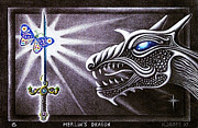 Merlin Drawings Posters - Merlins Dragon Poster by Hartmut Jager