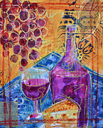 Wine Bottle Paintings - Merlot by Filomena Booth