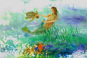 Fish Rubbing Posters - Mermaid And Baby Loggerhead Turtle Poster by Nancy Gorr