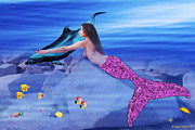 Dolphin Digital Art Framed Prints - Mermaid and Dolphin Friend Framed Print by Michael Peak