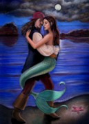 Pirates Prints - Mermaid and Pirates Caribbean Love Print by Sue Halstenberg