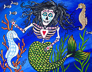 Seahorses Prints - Mermaid and Seahorses Day of the Dead Print by Julie Ellison